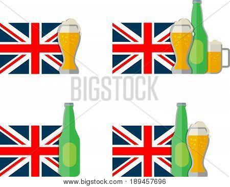 Flat set of English beer icons. Eps 10