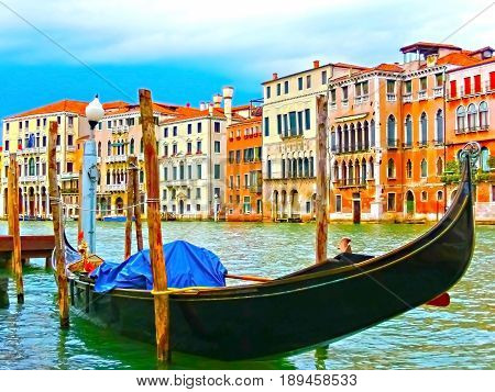 Venice Italy - Gondola on Canal Grande in Venice in a beautiful summer day in Italy