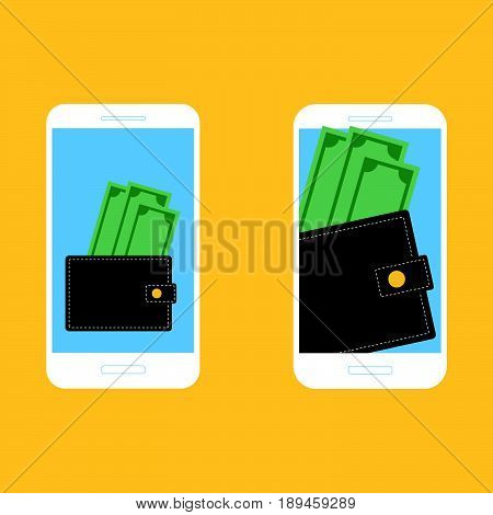 Digital mobile wallet concept icon. Smartphone screen with wallet and money on screen. Internet banking concept wireless money transfer.