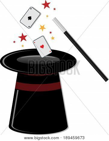 Black magic cylinder and magic wand. Eps 10