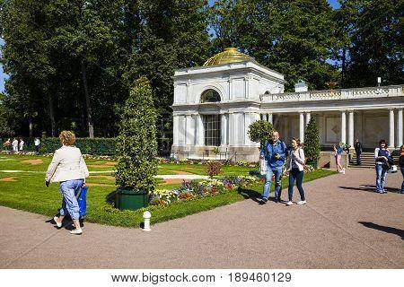 St Petersburg, Russia - August 2, 2015: Voronikhinsky Colonnades At Pertergof Palace.