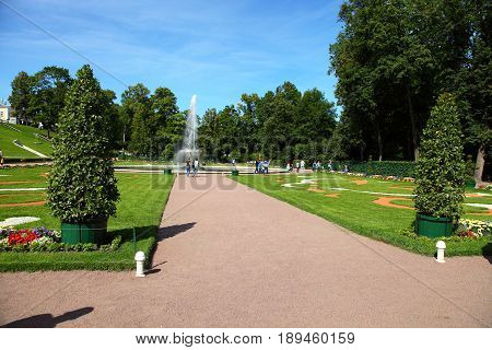 St Petersburg, Russia - August 2, 2015: Fountain