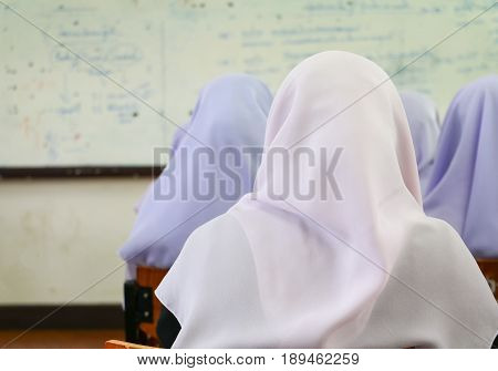 student Muslims lecture room in university .