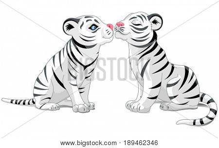 Illustration of two white tigers in love