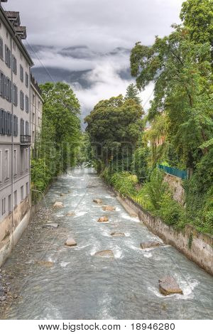 Plessur river in the centre of Chur, Switzerland. HDR photo. poster