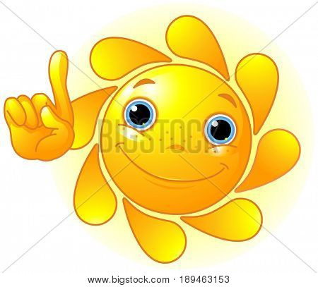 Cute and shiny Sun points a finger at up