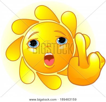 Cute Sun shows a middle finger