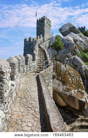 Moorish castle in the municipality of Sintra not far from Lisbon Portugal
