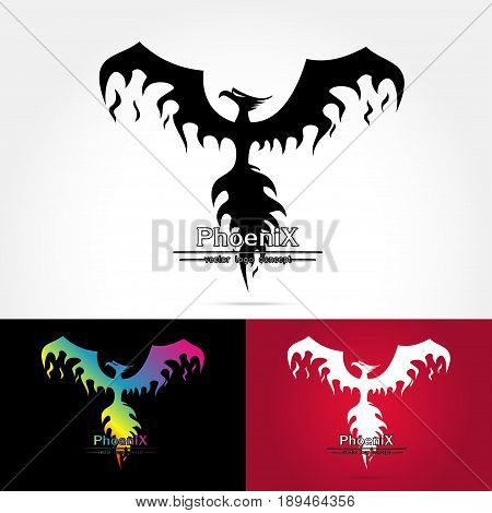 Magic Fairy Bird Abstract Logo design vector template. Flying Phoenix creative Logotype iconVector illustration of Phoenix isolated on white background