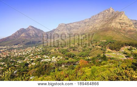 Scenic view of Table Mountain in Cape Town, South Africa at sunset