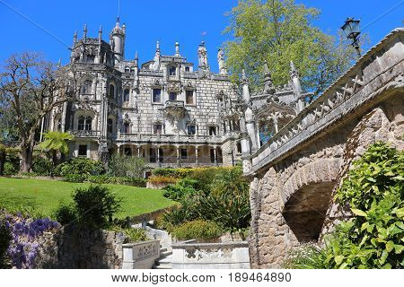 SINTRA - APRIL 07: Quinta da Regaleira palace in the municipality of Sintra Portugal most beautiful castles of Europe. April 07 2017 in Sintra Portugal