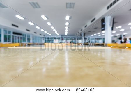 Blur Of Table And Chairs In Canteen Background..