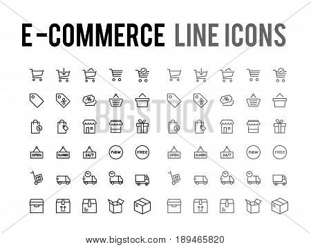 Online Shopping Vector Line Icon - App And Mobile Web Responsive