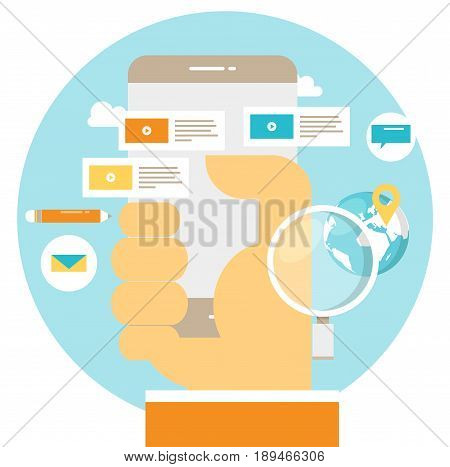 E-learning, online communication, messaging flat vector illustration design. Distance education, trainings, courses, video tutorials, chatting design for mobile and web graphics