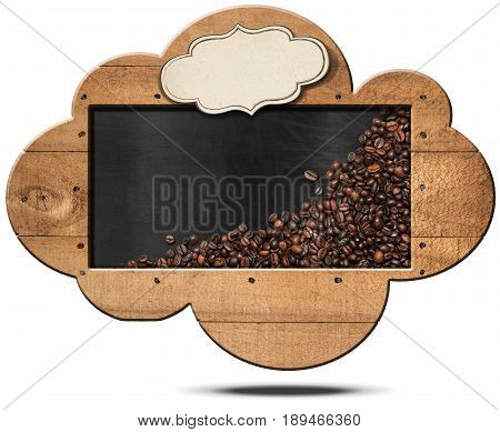 Blackboard with wooden frame in the shape of a cloud with roasted coffee beans copy space and an empty label. Isolated on white