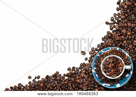 Coffee cup with roasted coffee beans. Isolated on white background