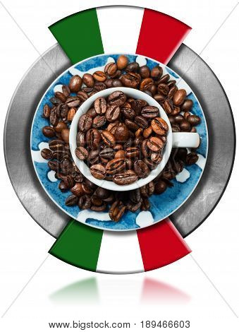 Symbol of Italian coffee (Caffe Italiano) with italian flag and roasted coffee beans inside. Isolated on white background