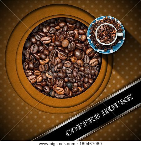 Vintage template for a coffee house menu with a cup with roasted coffee beans. Brown background with circles