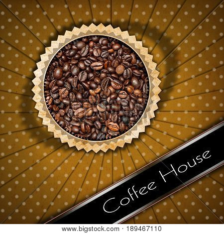 Vintage template for a coffee house menu with roasted coffee beans