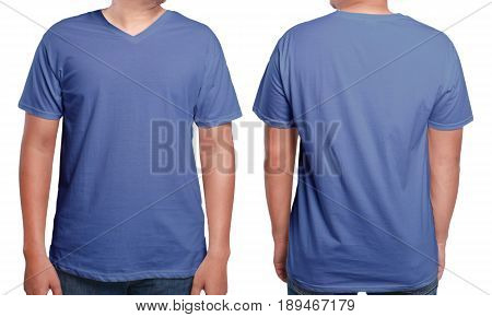 Blue t-shirt mock up front and back view isolated. Male model wear plain blue shirt mockup. V-Neck shirt design template. Blank tees for print