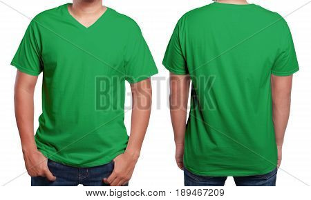 Green t-shirt mock up front and back view isolated. Male model wear plain green shirt mockup. V-Neck shirt design template. Blank tees for print