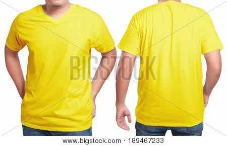 Yellow t-shirt mock up front and back view isolated. Male model wear plain yellow shirt mockup. V-Neck shirt design template. Blank tees for print
