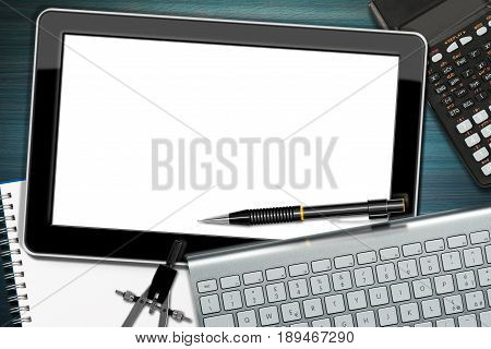 Office desk with a blank digital tablet computer keyboard pencil calculator drawing compass