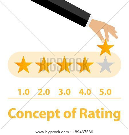 Rating. Rating five stars. The hand holds the star. Flat design vector illustration vector.