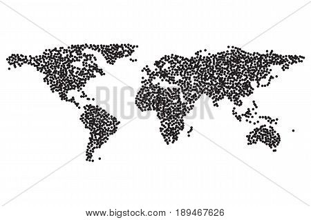 Worldmap template silhouette. World map for infographic. Dotwork Halftone Tattoo Style Vector Illustration.