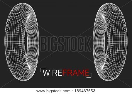 Abstract wireframe torus donuts. Vector technology background. Connection design template.