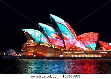 Sydney And Opera House  During Vivid Sydney