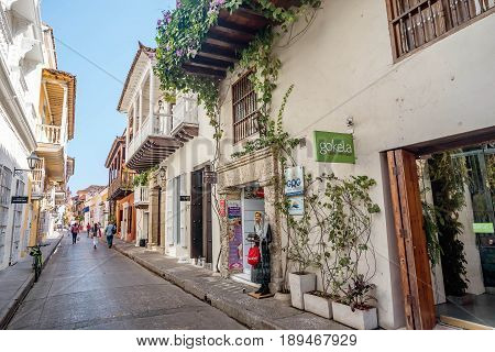 Cartagena, Colombia- March 2, 2017: Narrow street in the old town Cartagena Colombia