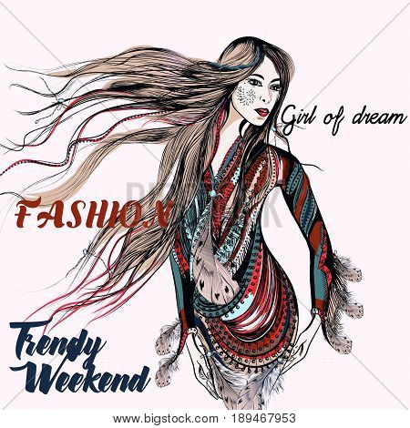 Fashion trendy illustration with beautiful boho girl. Trendy weekend