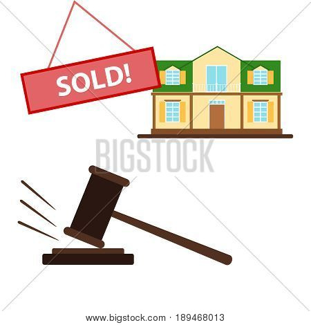 Auction. Lot sold the sale of the house at auction. Flat design vector illustration vector.
