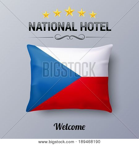 Realistic Pillow and Flag of Czech Republic as Symbol National Hotel. Flag Pillow Cover with Czech flag