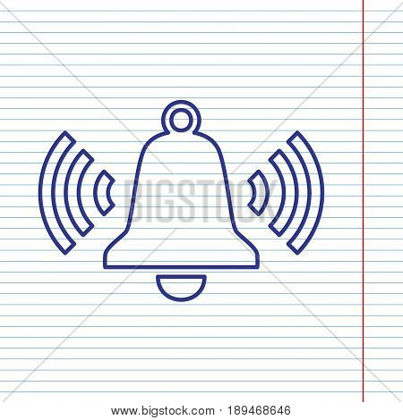 Ringing bell icon. Vector. Navy line icon on notebook paper as background with red line for field.
