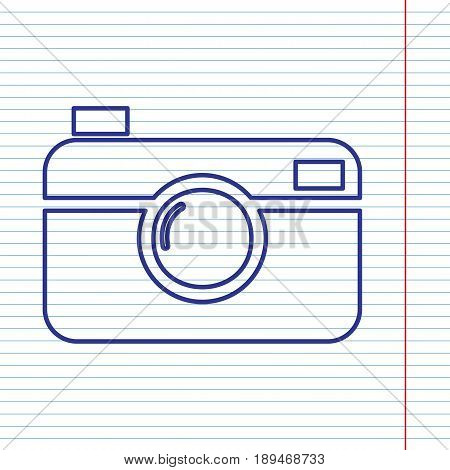 Digital photo camera sign. Vector. Navy line icon on notebook paper as background with red line for field.