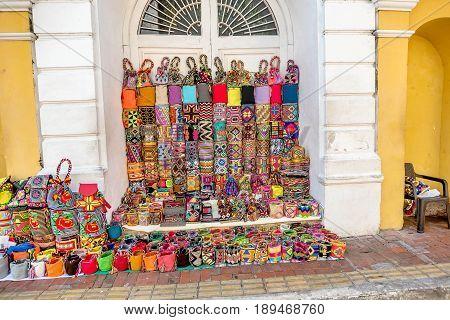 Cartagena, Colombia- March 2, 2017: Street shop in Cartagena Colombia