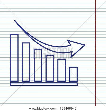 Declining graph sign. Vector. Navy line icon on notebook paper as background with red line for field.