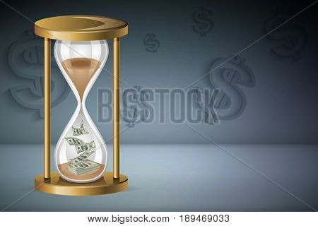 Time is money concept : Sand clock and money with dollar signs background. (3D Illustration)