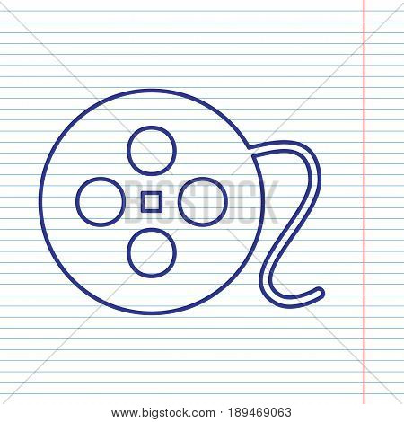 Film circular sign. Vector. Navy line icon on notebook paper as background with red line for field.