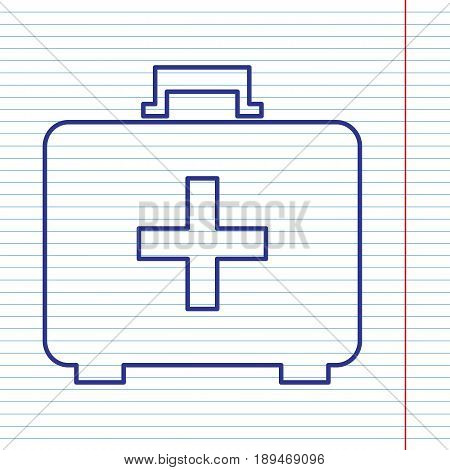 Medical First aid box sign. Vector. Navy line icon on notebook paper as background with red line for field.
