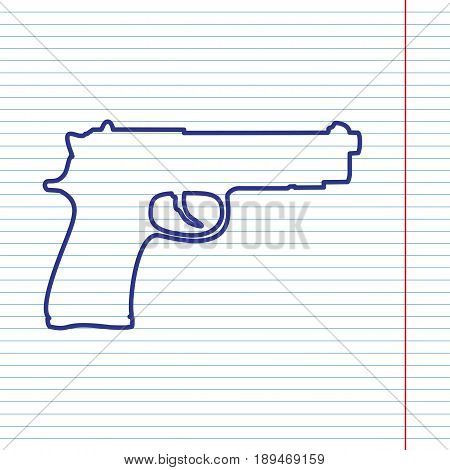 Gun sign illustration. Vector. Navy line icon on notebook paper as background with red line for field.