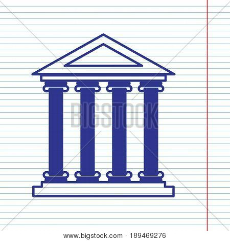 Historical building illustration. Vector. Navy line icon on notebook paper as background with red line for field.
