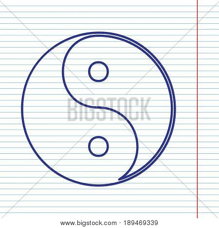 Ying yang symbol of harmony and balance. Vector. Navy line icon on notebook paper as background with red line for field.