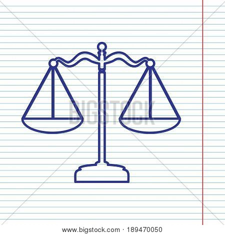 Scales balance sign. Vector. Navy line icon on notebook paper as background with red line for field.