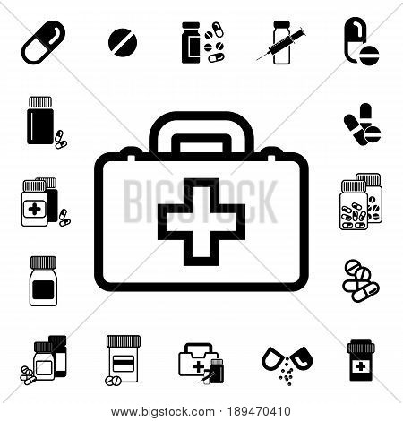 Doctors Bag With Cross Or Medical Suitcase  Icon
