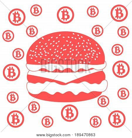 Picture About Transactions In Bitcoin:  Bitcoins And Hamburger