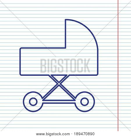 Pram sign illustration. Vector. Navy line icon on notebook paper as background with red line for field.