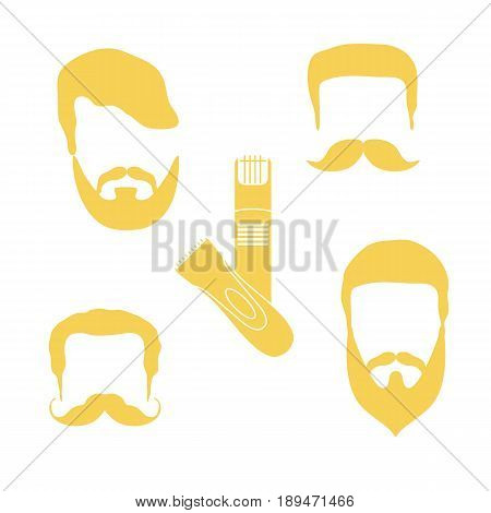 Cute Vector Illustration Of Men Hairstyles, Beards, Mustaches, Trimmers. Barbershop Symbol.